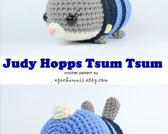 PATTERN: Judy Hopps Zootopia Tsum Tsum Crochet Amigurumi Doll