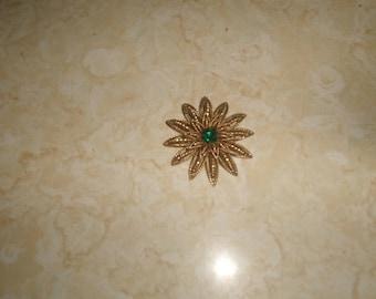 vintage pin brooch goldtone sunflower aurora borealis rhinestone