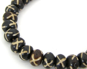 32 Batik X Bone Beads - 10x8mm Ox bone - 2mm hole