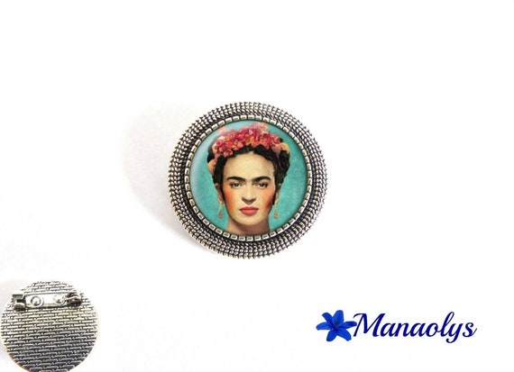 Antique silver round brooch, frida Kahlo, painting, 28 glass cabochons