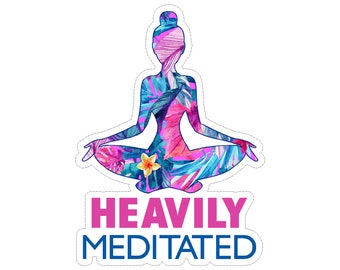 Heavily Meditated Yoga Vinyl Car Decal Sticker