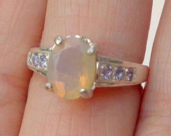 SALE, Sz 7, Welo Opal Ring, Tanzanite Accents, Natural Gemstone, Sterling Silver, Fine Jewelry, Ethiopian Opal, Semi-Transparent Opals