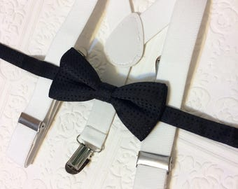 Baby suspenders and bow tie,baby tie, baby bow tie, suspenders, black and white suspenders set, black bow tie, baby suspenders set, wedding