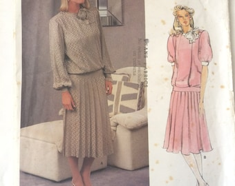 Vintage 1980s Vogue ALBERT NIPON Dress Sewing Pattern 1410 Size 12 Bust 34 - UNCUT