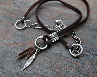 Leather Necklace Men, Men's Feather Necklace, Men's Leather Necklace, Surfer Necklace, Mens Boho Jewelry, Mens Bohemian Jewelry, For Him