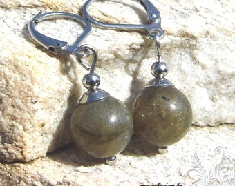 Labradorite ball earrings, earrings labradorite stone earrings Khaki, silver hook - sc