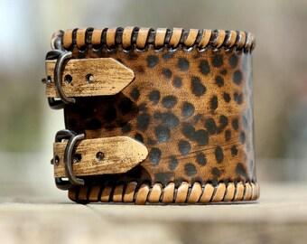 Cuff leather bracelet, mens leather bracelet, tooled bracelet, mens jewelry, ,leather wristband