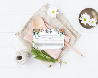 Floral Recipe Card Printable Kitchen Recipe Card Bridal Shower Recipe Card Flower Recipe Card Boho Shabby Watercolor Wedding Shower Recipe