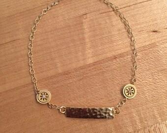 Hammered bracelet,gold filled, brass, minimalist jewelry,gold jewelry