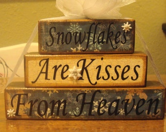 Snowflakes, are kisses, from heaven, Christmas Word Blocks