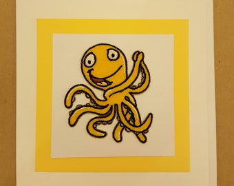 Octopus handcrafted greeting card. Blank inside. Worldwide shipping