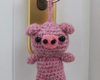 Pig Keyring by Little Gems Crochet - Crochet animal keyring - Any animal available