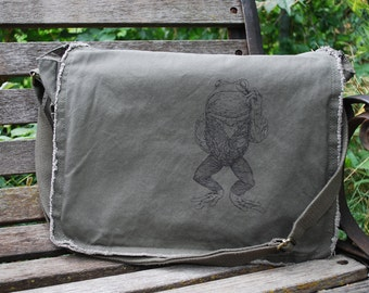 Frog Bag - Canvas Messenger Bag Men - Brother Gift - Odd Frog with Monocle - School Bag