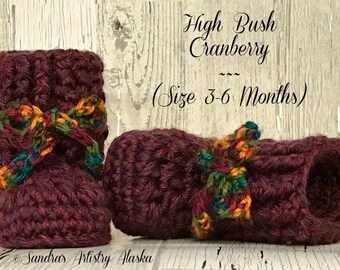 Chunky Jewel-Tone Alaska baby booties: Size 3-6 Months in 3 hues