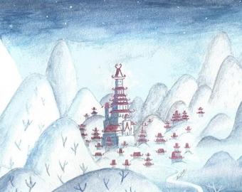 Original Watercolor Painting - Samurai Village in Winter