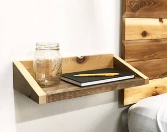 Rustic Modern Wood Floating Tray End Table / Shelf   Made In USA    Reclaimed Shelving