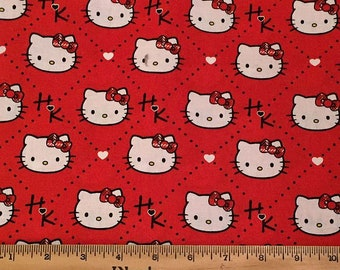Hello Kitty Red  Plaid fabric 2 yards
