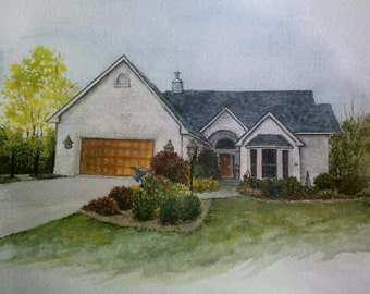 Watercolor House Portraits from your photo (example of finished work)