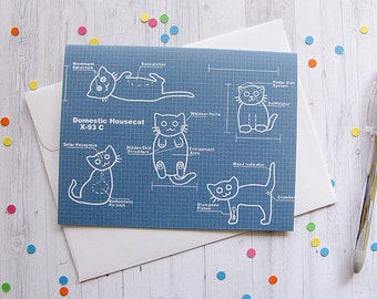 Cat Blueprints Greeting Card Funny Greeting Card Cute Note Anytime Card Silly Cat Lover Boyfriend Girlfriend Any Occasion Blank Card