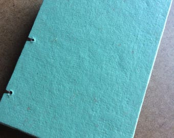Green journal, recycled journal, handmade paper, sketch book, guest book, recycled guestbook, diary, notebook