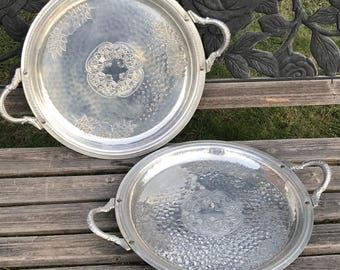 """14"""" Round hammered Aluminum Floral Tray Silver Handles Holiday Serving Trays"""