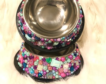 All About the Fun! Stainless Steel Doggy Water & Food Bowl Set