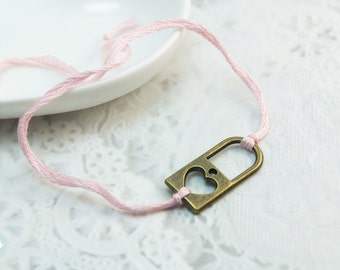 Lock bracelet, wish bracelet, cord bracelet, cute bracelet, friendship bracelet, gift for her, mother and daughter , charm bracelet