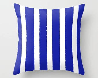 Azure Blue and White Striped Throw Pillow . Blue Pillow . Cushion . Pillow . Cobalt Striped Pillow . Sapphire Cushion 14 16 18 20 inch