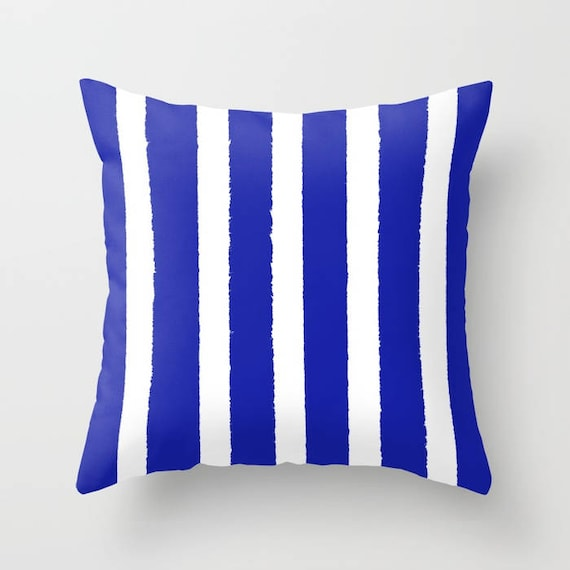 Azure Blue and White Striped Throw Pillow . Blue Pillow . Blue Lumbar Pillow . Cobalt Striped Pillow . Sapphire Cushion 14 16 18 20 inch