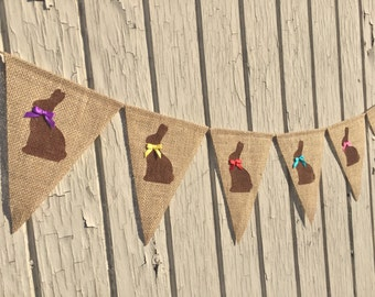 Easter Banner, CHOCOLATE EASTER BUNNY Bunting, Easter Bunny Garland, Easter Burlap Banner, Easter Decor, Easter Decoration, Photo Prop