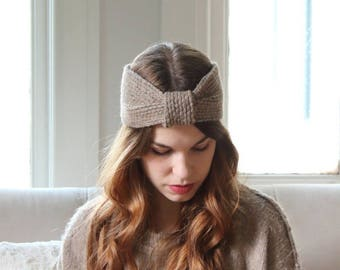 Chunky Charcoal Knit Headband | Cozy Ribbed Ear Warmer | Warm Winter Turban [Frankie Headband]