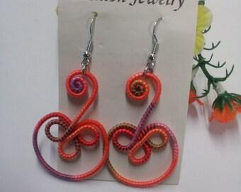 Yarn color earrings