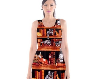S- 3XL Cats on Bookshelf librarian library dress books