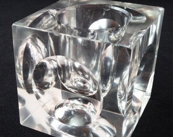 Vintage Glass Candle Holder, Mid Century, Glass