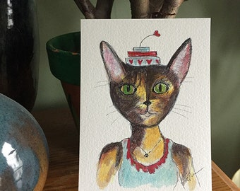 Tortie Cat Watercolor Painting - 5x7 Watercolor Tortoise Shell Cat PRINT - Funny Cat in Clothes - Nursery Prints - Gift for Cat Lover