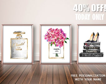 Fashion Decor Art, Watercolor Peony Set, Fashion Wall Prints, Gold Fashion  Decor,