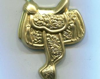 4 Western Saddle Brass Metal Stampings