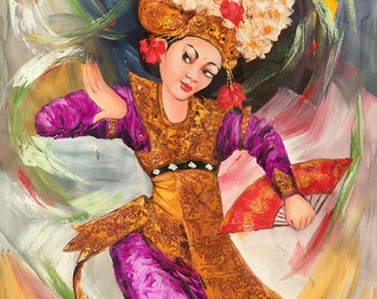Dance N Flying, Indonesian Artwork, Mixed Media, Streatched Canvas Giclee of Traditional Oil on Canvas Balinese Painting; Ready to Hang!