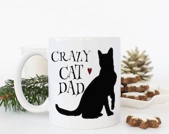 Dad Cat Mug, Funny Mugs Dad, Crazy Cat Daddy Coffee Mug, Cat Dad, Cute Boyfriend Gifts, Unique Coffee mug, Gifts for dad, Cat valentine Gift