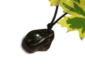 Genuine natural amber necklace amber color, dark (P58)