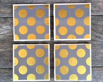 "Gray and Gold Polka Dot ""Jamie"" Ceramic Coasters"