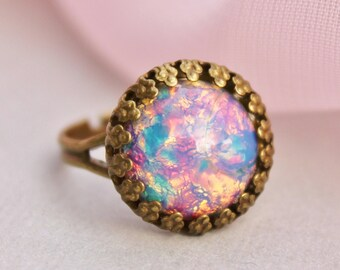 Vintage Fire Opal Ring - Harlequin Glass Opal Adjustable Ring, Vintage Brass, Birthstone, Shabby Chic, Bridal, Something Old, Repurposed