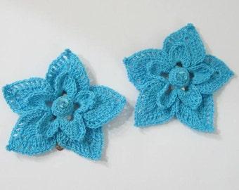 Crochet Turquoise Flower Hair clips set, Crochet Flower Hair Pin, Girls Hairpin Flower, Flower Gils Hairclip, Girls Flower Hair clip