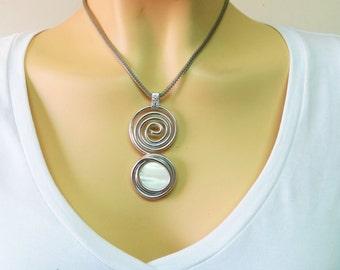 Spiral Jewelry, Spiral Necklace, Silver Spiral Jewelry, Sea Shell Jewelry, Sea Shell Pendant , Natural Jewelry, Gemstone Cabochon Pendant,