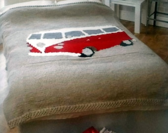 Campervan Double and Single Bed Spread Knitting Pattern.