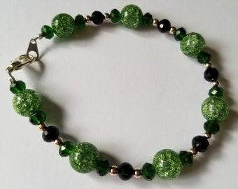 Green and Black Crystal Bracelet