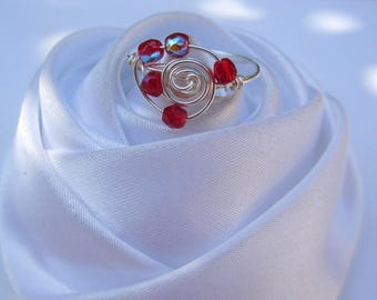 Red Ring size 55 in artistic wire wire silver plated wire