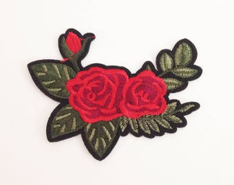 Rose on branch patch Red rose applique patch