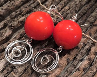 Italian Murano Glass and Sterling Silver Earrings