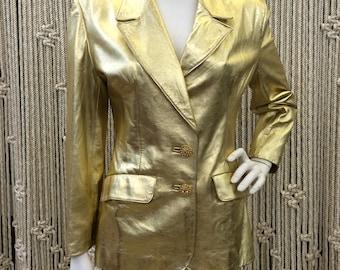 1980s rare designer Lillie Rubin edgy gold leather blazer/jacket